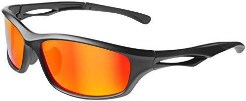 Balinco Polarisierte Sportbrille Sonnenbrille Fahrradbrille mit UV400 Schutz für Damen & Herren Autofahren Laufen Radfahren Angeln Golf (Matt Black – Red Mirror)