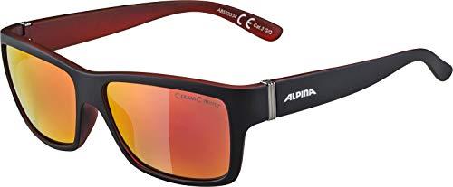 Alpina Sonnenbrille Sport Style KACEY black matt-red, One Size