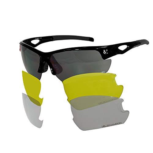 VeloChampion Tornado Sonnenbrille, Rot, mit 3 Linsen und weichem Gehäuse (Schwarz)