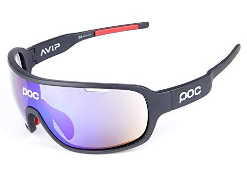 TFGY Sport-Sonnenbrille polarisiert, 5-Objektive Sport-Outdoor-Winddichte Brille Anti-Fog-Uv Ray-beständig, Mann und Frau Radfahren Mountainbike Golf Skifahren,E