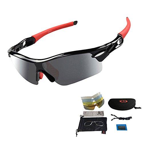 VILISUN Unisex Radbrille Sportbrille Sonnenbrille, UV-Schutz, 5 Wechselgläser inkl. Schwarze polarisierte Linse, für Outdooraktivitäten wie Radfahren Laufen Klettern usw. (Rot)