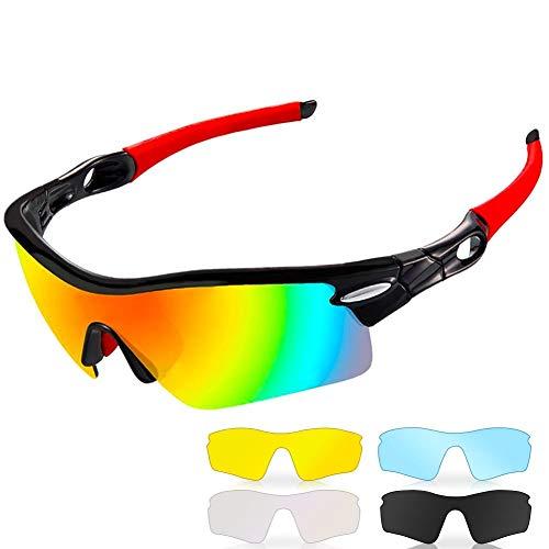 CrazyFire Polarisierte Sportbrille, Sonnenbrille Fahrradbrille,5 Wechselgläser inkl,UV-Schutz Polarisierte Sportsonnenbrille für Baseball Wie Herren Autofahren Laufen Radfahren Angeln Golf