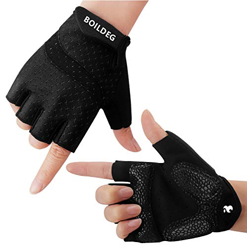BOILDEG Fahrradhandschuhe Fingerlos Fitness Handschuhe Atmungsaktiv Rutschfestes Stoßdämpfende Radsporthandschuhe für MTB Fitness Damen und Herren(SCHWARZ,L)