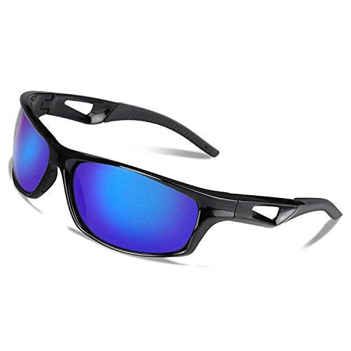 VILISUN Polarisierte Sport Sonnenbrille Fahrradbrille Sportbrille mit UV400 TR90 (Blau)