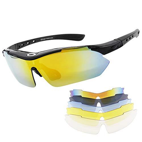 Miriqi Polarisierte Sportbrille Fahrradbrille Sportliche Sonnenbrille UV400 Schutz für Herren & Damen mit 5 Wechselgläser,für Outdooraktivitäten wie Radfahren Laufen Klettern Autofahren Angeln Golf