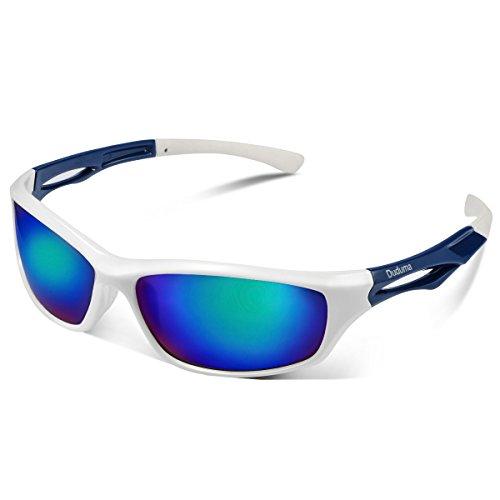 Duduma Polarisierte Sportbrille Sonnenbrille Fahrradbrille mit UV400 Schutz für Damen & Herren Autofahren Laufen Radfahren Angeln Golf TR90(Weißen Rahmen mit Blau Linse)