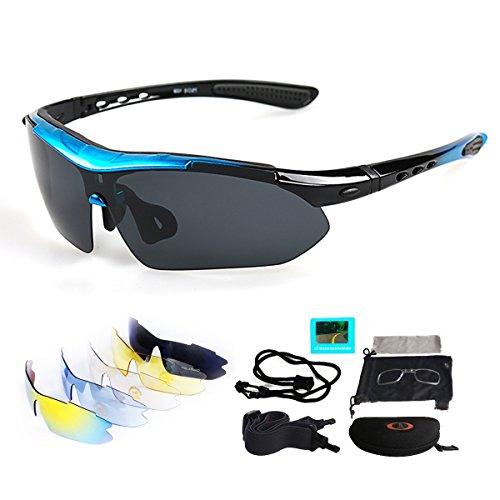 Sport Sonnenbrille Fahrradbrille Sportbrille mit UV400 5 Wechselgläser inkl Schwarze polarisierte Linse für Outdooraktivitäten wie Radfahren Laufen Klettern Autofahren Laufen Angeln Golf Unisex