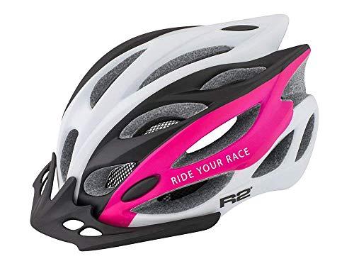 R2  Rennradhelm Wind | Fahrradhelm | Radhelm | Mountain Bike | MTB-Helm | Triathlon-Helm | Damen und Herren (weiß/pink, M (56-58cm))