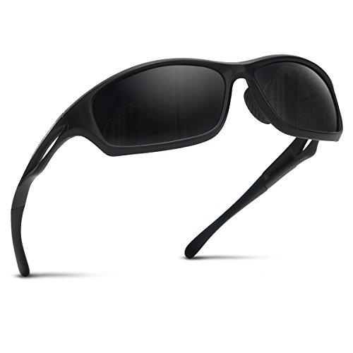 Occffy Polarisierte Sportbrille Sonnenbrille Fahrradbrille mit UV400 Schutz für Herren Autofahren Laufen Radfahren Angeln Golf TR90 (599 Schwarze Matte Rahmen mit Schwarze Linse)