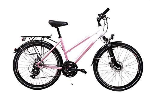 26 Zoll Alu Damen Fahrrad Shimano 21 Gang Scheibenbremsen Nabendynamo Weiss Pink