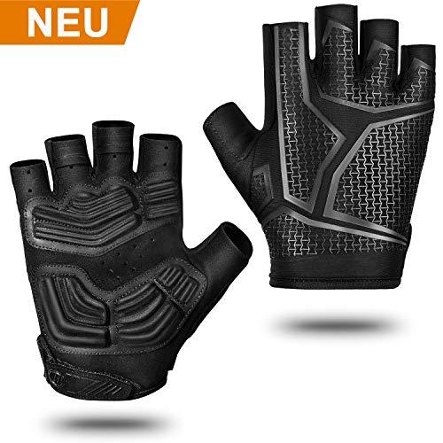 BAONUOR Fahrradhandschuhe MTB Handschuhe Herren/Damen, Atmungsaktive Rutschfeste Handschuhe Halbfinger für Radfahren, Motorrad, Kraftsport, Sport