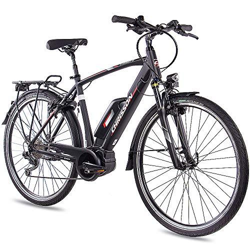 CHRISSON 28 Zoll Herren Trekking- und City-E-Bike – E-Rounder schwarz matt – Elektro Fahrrad Herren – 9 Gang Shimano Deore Kettenschaltung – Pedelec mit Bosch Mittelmotor Active Line 250W, 40Nm