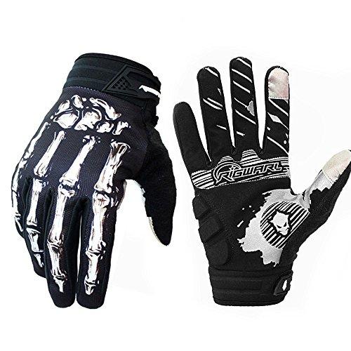 Rigwari Mountainbike-Reithandschuhe Reiten Handschuhe Motorrad Handschuhe volle Finger Touchscreen Handschuhe Männer und Frauen Sport Mode Skelett Handschuhe (Weiß1, L)