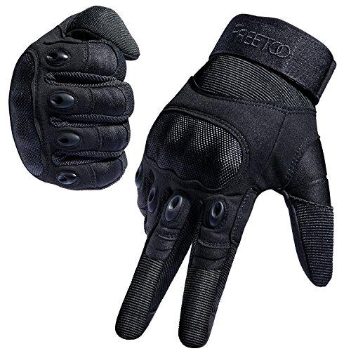 [Sport Handschuhe] FREETOO taktische Handschuhe Motorrad Handschuhe Herren Vollfinger Handschuhe mit gepolstertem Rückenseite geeignet für Airsoft Militär Paintball Motorrad Fahrrad und andere Outdoor Aktivitäten (Vollfinger Schwarz, L)