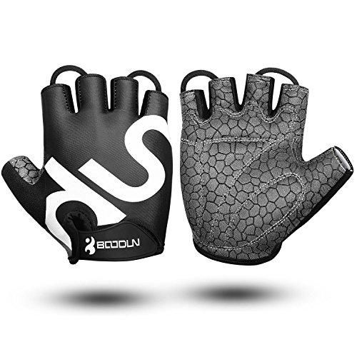 KONVINIT Draussen Fahrradhandschuhe Ergonomisches Blaues Fingerlos Gloves für Sport, Bergsteigen, Gym Fitness und Klettern mit rutschfestem SBR Grip Padding M by