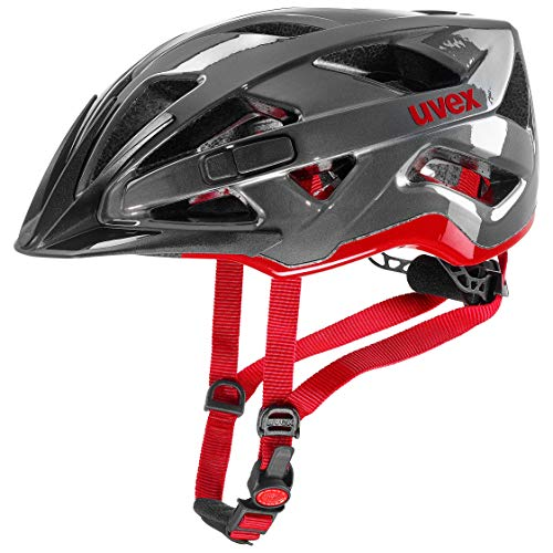 uvex UnisexErwachsene active Fahrradhelm, anthracite-red, 56-60 cm