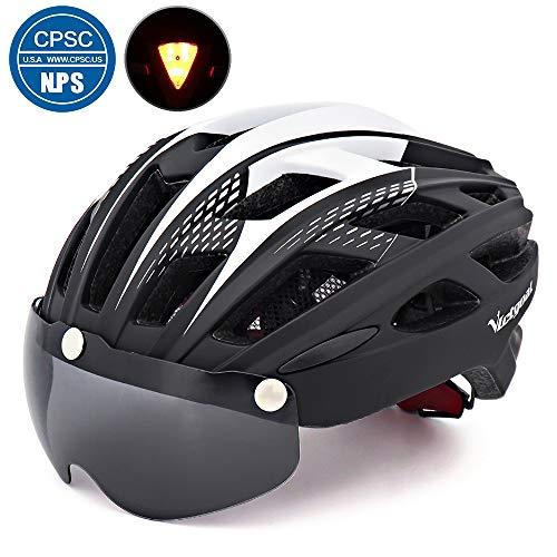 Victgoal Fahrradhelm Herren Damen Erwachsene Fahrrad Zyklus Helm Magnetischer Visier-Schutzbrille mit LED-Rücklicht 57-61 cm (Black)