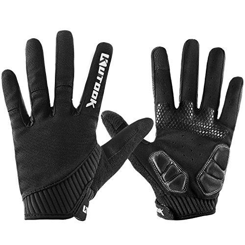 KUTOOK Herren Fahrradhandschuhe Mit Gel Vollfinger MTB Handschuhe für das Radfahren(Schwarz,M)