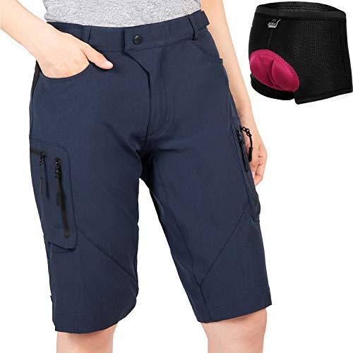 Cycorld MTB Shorts Damen Radhose, MTB Hose mit Innenhose und hochwertigem Sitzpolster, Schnelltrocknend Fahrradhose Damen Mountainbike Shorts Outdoor Shorts (Navy mit Unterwäsche, L)