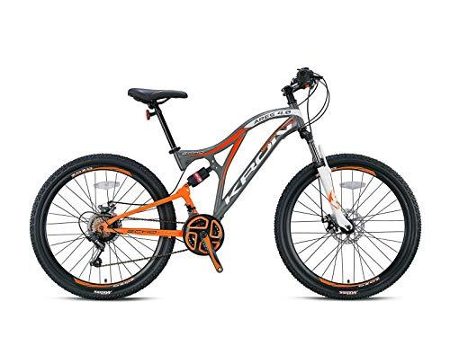 KRON ARES 4.0 Fully Mountainbike 27.5 Zoll   21 Gang Shimano Kettenschaltung mit Scheibenbremse   16.5 Zoll Rahmen Vollgefedert MTB Erwachsenen- und Jugendfahrrad   Grau Orange