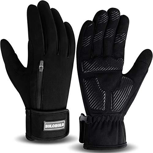 HoloHolo Fahrradhandschuhe Radsporthandschuhe rutschfeste und Stoßdämpfende Mountainbike Handschuhe mit Signalfarbe geeiget Unisex Herren Damen (Black, L)