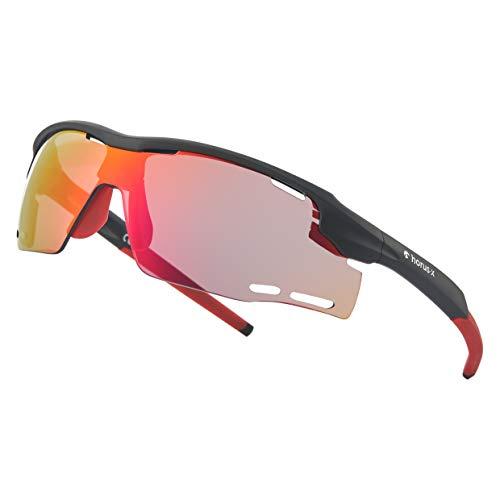 Horus X Sportbrille – UV 400 100% UV-Schutz – Sportbrille als Fahrradbrille, MTB Brille, Rennradbrille und Laufbrille für Outdoor Sportarten – Herren und Damen – L