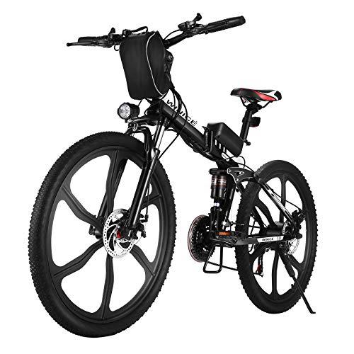 Vivi Faltbares Elektrofahrrad, Elektrisches Mountainbike Für Erwachsene 250W Ebike 26 Zoll Elektrofahrrad Mit Herausnehmbarer 8Ah Batterie, Professionelle 21-Gang-gänge, Vollfederung (26 Zoll-Schwarz)
