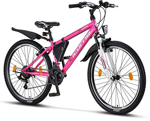 Licorne Bike Guide Premium Mountainbike in 26 Zoll – Fahrrad für Mädchen, Jungen, Herren und Damen – Shimano 21 Gang-Schaltung – Rosa/Weiß