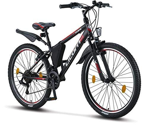 Licorne Bike Guide Premium Mountainbike in 26 Zoll – Fahrrad für Mädchen, Jungen, Herren und Damen – Shimano 21 Gang-Schaltung – Schwarz/Rot/Grau