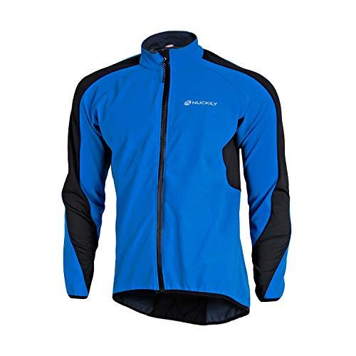 NUCKILY Winddichte Herren-Winterjacke, Thermo-Fleece, Fahrradtrikot, wasserabweisend, für Mountainbike, Rennrad (NJ604-W Blau, L)