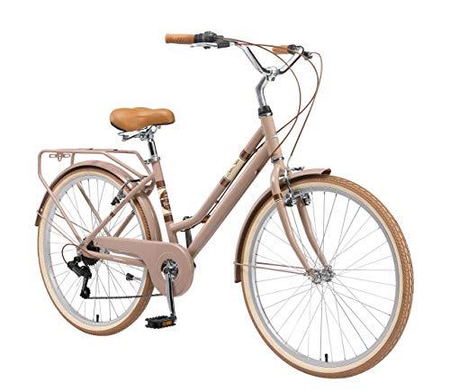 BIKESTAR Alu City Stadt Fahrrad 26 Zoll | 16 Zoll Rahmen, 7 Gang Shimano Damen Rad, Hollandrad Retro Bike mit V-Bremse und Gepäckträger | Braun | Risikofrei Testen