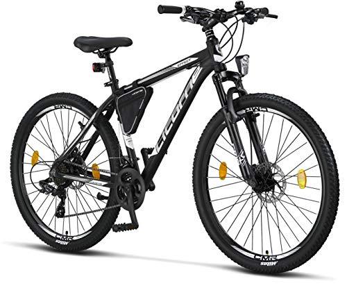 Licorne Bike Effect Premium Mountainbike in 27,5 Zoll – Fahrrad für Jungen, Mädchen, Herren und Damen – Shimano 21 Gang-Schaltung – Scheibenbremse Herrenrad – Schwarz/Weiß (2xDisc-Bremse)