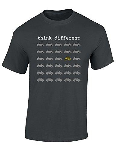 T-Shirt: Think Different – Fahrrad Geschenke für Damen & Herren – Radfahrer – Mountain-Bike – MTB – BMX – Fixie – Rennrad – Tour – Outdoor, Dunkelgrau, M