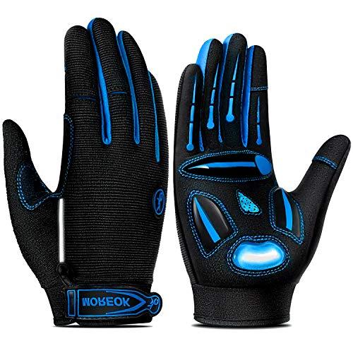 TEUEN Fahrradhandschuhe Herren Touchscreen Fahrradhandschuhe Damen Winter, Gel MTB Handschuhe Vollfinger Atmungsaktiv Mountainbike Handschuhe Männer für Laufen Wandern Radsport (Blau, L-groß)
