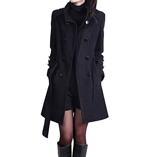iHENGH Damen Winter Jacke Dicker Warm Bequem Parka Mantel Lässig Mode Frauen Slim Damenmode Warme Lange Ärmel Knopf Taste Mit Gürtel(Schwarz,3XL)