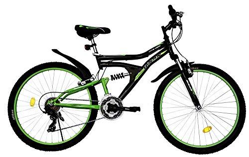 T&Y Trade 26 Zoll Kinder Herren Damen Mädchen MTB Mountainbike Kinderfahrrad Mädchenfahrrad Fahrrad Rad Bike Vollgefedert Fully 21 Gang 4300 Schwarz Grün