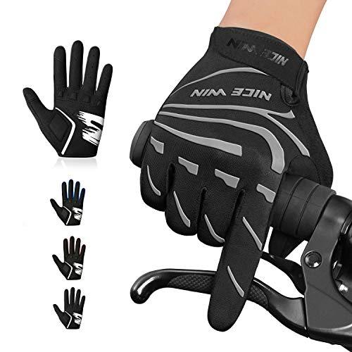NICEWIN Fahrradhandschuhe Herren Damen rutschfeste und Stoßdämpfende Vollfinger Radsporthandschuhe Gepolsterte MTB Handschuhe mit Touchscreen für Radsport Mountainbike Road Race Wandern