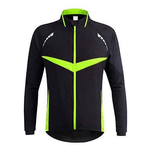 d.Stil Herren Fahrradjacke Winddichte wasserdichte Winter Radjacke MTB Mountainbike Jacket Visible reflektierend, Fleece Warm Jacket Gr.S-2XL (Schwarz Grün, L)