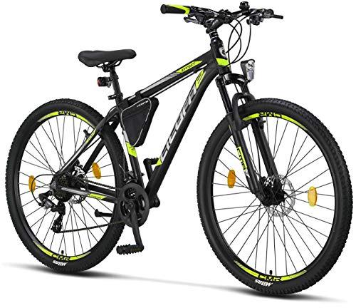 Licorne Bike Effect Premium Mountainbike in 29 Zoll – Fahrrad für Jungen, Mädchen, Herren und Damen – Shimano 21 Gang-Schaltung – Herrenrad – Schwarz/Lime (2xDisc-Bremse)