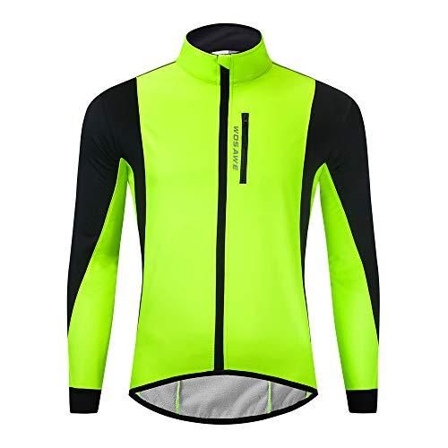 WOSAWE Herren Softshell Fahrradjacke Winter Thermo Winddichte Radjacke Fahrradbekleidung für Freizeit, Mountainbike, Laufen, Wandern, Bergsteigen (BL261 Grün XXXL)