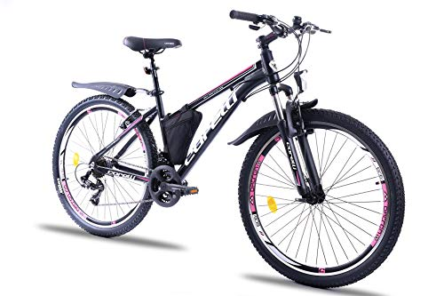 Corelli Twister Mountainbike 20 Zoll, 24 Zoll oder 26 Zoll mit Aluminium-Rahmen, V-Brake, Shimano 21 Gang-Schaltung, Gabelfederung, als Damen-Fahrrad, Mädchen-Fahrrad, Kinder-Fahrrad. (pink, 26.0)