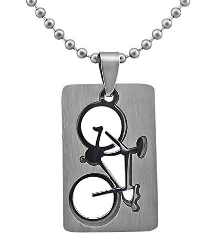 Hanessa Schmuck Edelstahl Herren-/ Damen Halskette Fahrrad Renn-Rad Sport Triathlon Geschenk zu Weihnachten für Mann oder Frau/Freund oder Freundin