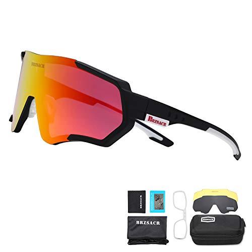 BRZSACR Polarisierte Sport-Sonnenbrille mit austauschbaren Lenes für Männer Frauen Radfahren Laufen Fahren Angeln Golf Baseball Brillen (3-Farben-Wechselobjektiv) (Schwarz rot)