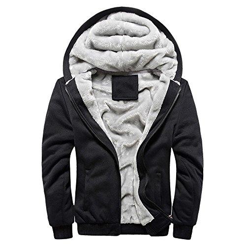 Batnott Mens Hoodie Winter warme Fleece Zipper Sweater Männe Jacke Outwear Mit Kapuze Mantel Outdoor Sweatjacke Jacke Herren Schwarz mit Fell