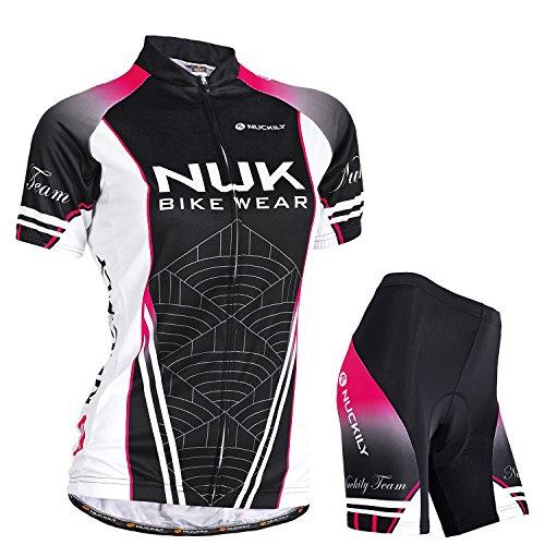 NUCKILY Damen Radtrikot Kurzarm Fahrradbekleidung Set Bike Shirt Atmungsaktive Trikot Outdoor Sports Radfahren Jersey & Radhose mit 3D Sitzpolster MTB Radsportanzug