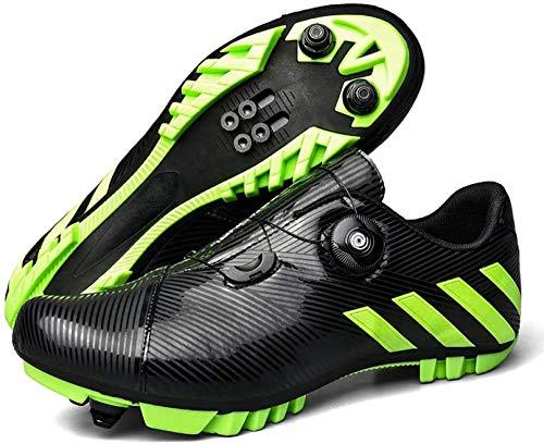 KUXUAN MTB-Radschuhe für Herren,Mountainbike-Schuhe mit Schlössern,Wintersportschuhe für Männer und Frauen,Black-EU46
