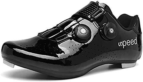 Herren Rennrad Fahrradschuhe, Premium Schuhe Mit Schuhplatte Herren SPD Schuhe Schwarz Gelb Herren Fahrrad Spinnschuhe,Schwarz,42