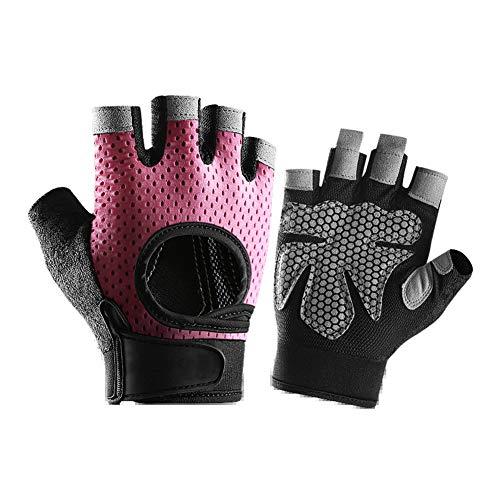 Fingerlose Fahrradhandschuhe mit Gel,MoreChioce Herren Radhandschuhe Damen Atmungsaktiv Radsport Handschuhe Stoßdämpfung Anti-Rutsch Rennrad Handschuhe Gel für MTB Mountainbike Rosa,M (8-8,5cm)