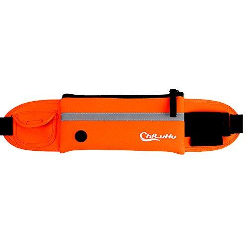 5 ALL Hüfttasche Sport Wasserdicht Luftig Geeignet für Handy Geld Kopfhöre mit Flaschenhalter (Orange)