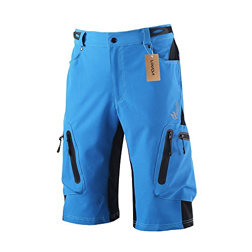 Lixada Herren Kurze Hosen, Männer Fahrradhose, Atmungsaktiv Radhose, Schnelltrocknende MTB Hose – Wasserabweisend Outdoor Hosen/Wanderhose, Blau, XXL(CN)=XL(EU)